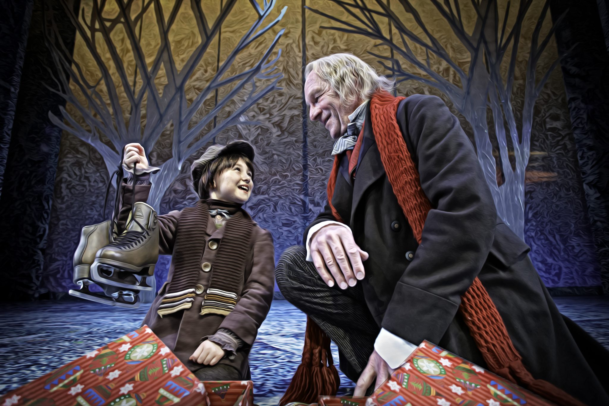 Scrooge and Tim with Skates