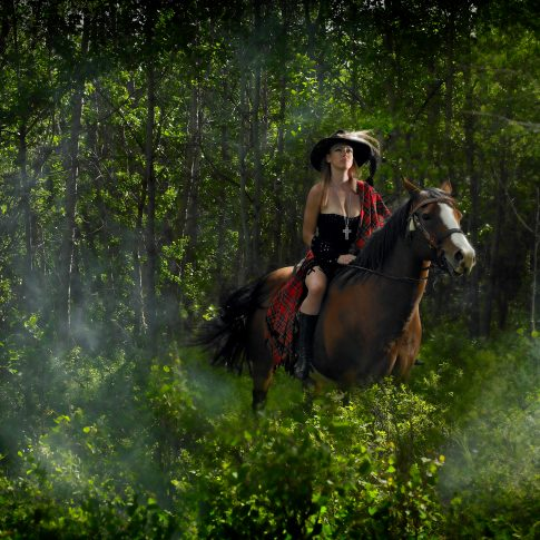 horses and sexy rider in the woods - editorial - harderlee