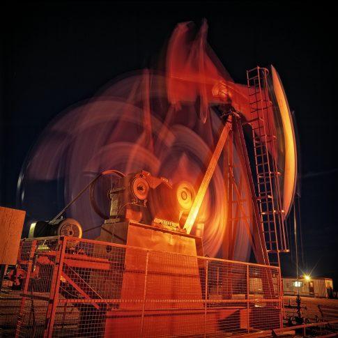 pumpjack at night - industrial - harderlee