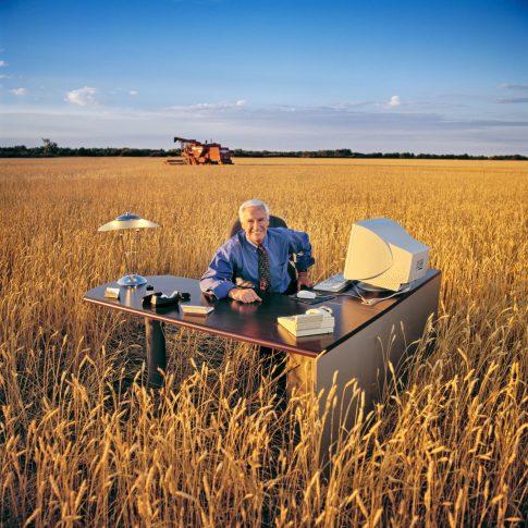 office outside in wheat field - editorial - harderlee